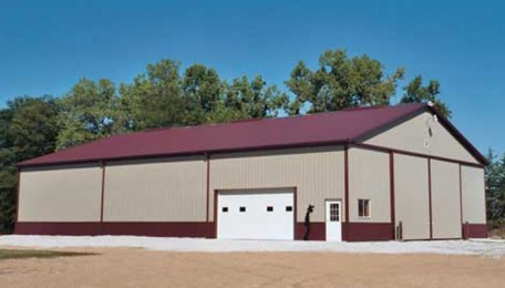 032-03 <br> Classic Burgandy & Hickory Moss Ag Equipment Storage & office