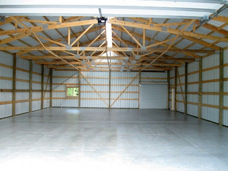 Pristine Finished Interior of a Pole Building/Agricultural/Garage/Shop showing garage bay for flexibility in building use.